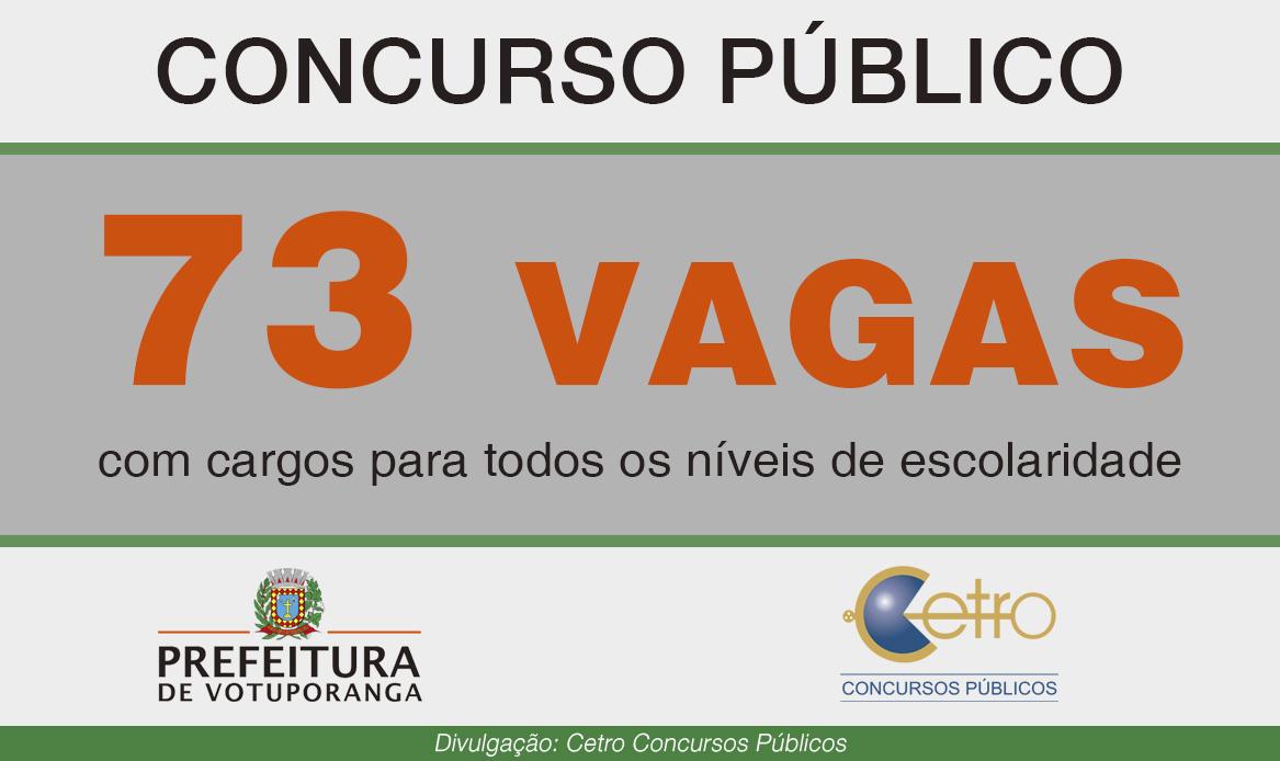Votuporanga está com inscrição aberta para concurso.